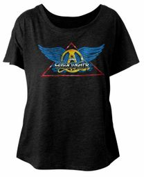 Aerosmith Ladies Shirt Triangle Band Logo Black Dolman T-Shirt