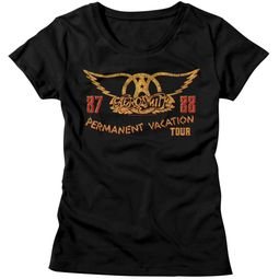 Aerosmith Shirt Juniors Permanent Vacation Tour 87-88 Black T-Shirt