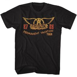 Aerosmith Shirt Permanent Vacation Tour 87-88 Black T-Shirt