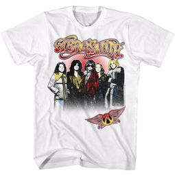 Aerosmith Shirt Rock Band Group Photo White T-Shirt