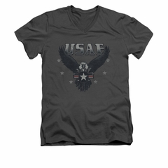 Air Force Shirt Slim Fit V-Neck Eagle Charcoal T-Shirt