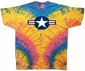 Air Force Shirt Star Aircraft Insignia Woodstock Tie Dye Tee T-shirt