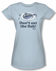 Airplane Shirt Juniors Don't Eat The Fish Light Blue Tee T-Shirt