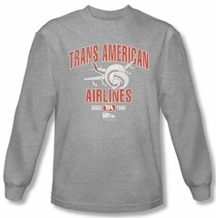 Airplane Shirt Trans American Long Sleeve Athletic Heather Tee T-Shirt