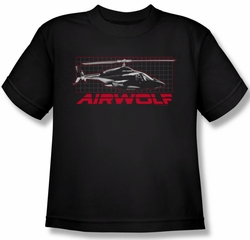 Airwolf Grid Kids Shirt Black Youth Tee T-Shirt