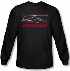 Airwolf Grid Long Sleeve Black Tee T-Shirt