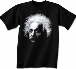 Albert Einstein Shirt Big Einstein Portrait Adult Black T-shirt
