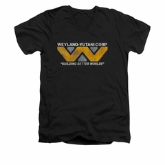 Alien Shirt Slim Fit V Neck Weyland Corp Black T-Shirt