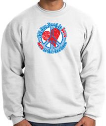All You Need Is Love Heart Peace Sign Symbol Adult Sweatshirts