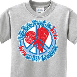Buy Cool Shirts Kids Peace Sign T-Shirt Blue Earth Youth Long Sleeve