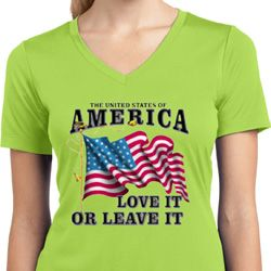 America Love It or Leave It Ladies Moisture Wicking V-neck Shirt