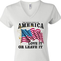 America Love It or Leave It Ladies V-neck Shirt