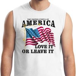 America Love It or Leave It Mens White Muscle Shirt