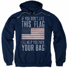 American Flag Hoodie Pack Your Bag Navy Sweatshirt Hoody