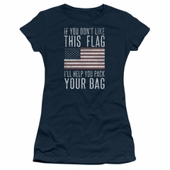 American Flag Juniors Shirt Pack Your Bag Navy T-Shirt