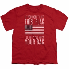 American Flag Kids Shirt Pack Your Bag Red T-Shirt