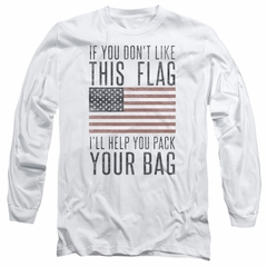 American Flag Long Sleeve Shirt Pack Your Bag White Tee T-Shirt
