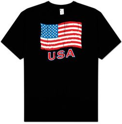 American Flag T-shirt - God Bless America Patriotic Adult Tee