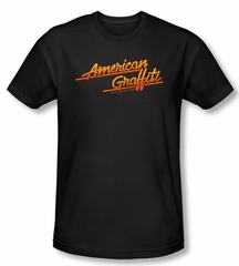 American Graffiti T-shirt Movie Neon Logo Adult Black Tee Shirt