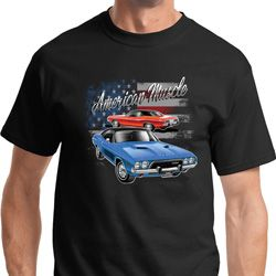 American Muscle Blue and Red Mens Dodge Shirts