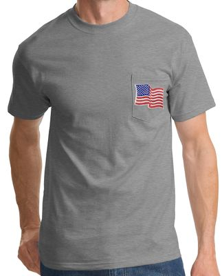 USA American Flag EMBROIDERED Navy Blue T-Shirt  NEW