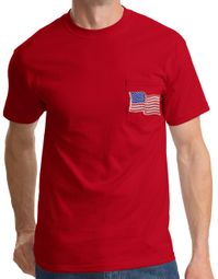 American T-Shirt USA Waving Flag Embroidered Patch Pocket Print Red