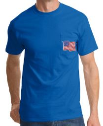 American T-Shirt  USA Waving Flag Embroidered Patch Pocket Royal