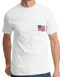 American T-Shirt USA Waving Flag Embroidered Patch Pocket Tee White
