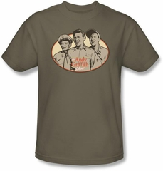Andy Griffith Show T-shirt - 3 FUNNY GUYS Adult Safari Green Tee