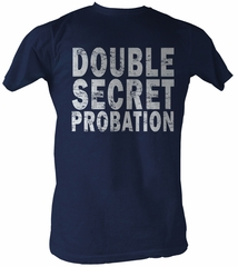 Animal House T-Shirt Double Secret Probation Navy Blue Tee Shirt
