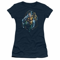 Aquaman Juniors Shirt Thrashing Navy T-Shirt