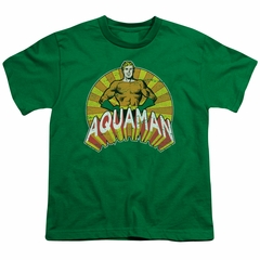 Aquaman Kids Shirt Hands On Hips Kelly Green T-Shirt
