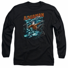 Aquaman Long Sleeve Shirt Bubbles Black Tee T-Shirt