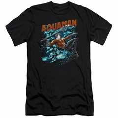 Aquaman Slim Fit Shirt Bubbles Black T-Shirt