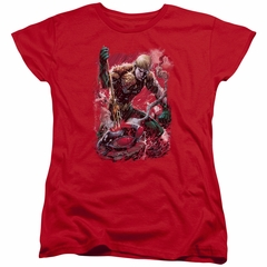 Aquaman Womens Shirt Stabbed Red T-Shirt