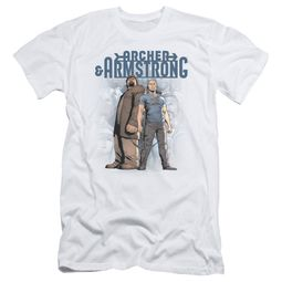 Archer & Armstrong Slim Fit Shirt Stare Down White T-Shirt