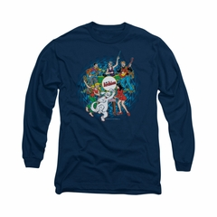 Archie Shirt Psychedelic Long Sleeve Navy Tee T-Shirt
