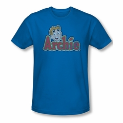 Archie Shirt Slim Fit Distressed Logo Royal Blue T-Shirt