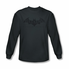 Arkham Origins Shirt Distressed Logo Long Sleeve Charcoal Tee T-Shirt