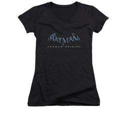 Arkham Origins Shirt Juniors V Neck Logo Black T-Shirt