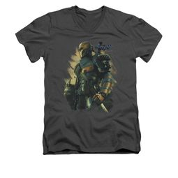 Arkham Origins Shirt Slim Fit V-Neck Deathstroke Charcoal T-Shirt