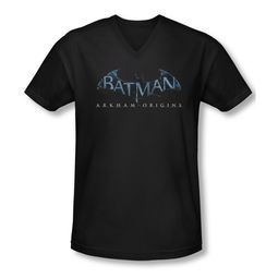 Arkham Origins Shirt Slim Fit V-Neck Logo Black T-Shirt