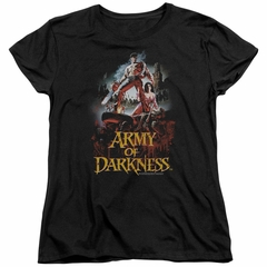 Army Of Darkness Womens Shirt Bloody Poster Black T-Shirt