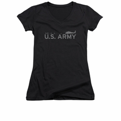 Army Shirt Juniors V Neck Helicopter Black T-Shirt