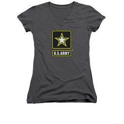 Army Shirt Juniors V Neck Logo Charcoal T-Shirt