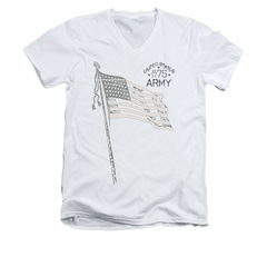 Army Shirt Slim Fit V-Neck Flag White T-Shirt