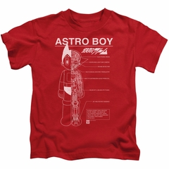 Astro Boy Kids Shirt Schematics Red T-Shirt