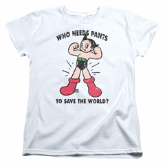 Astro Boy Womens Shirt Who Needs Pants White T-Shirt