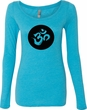 AUM Circle Ladies Tri-Blend Long Sleeve Yoga Shirt