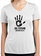 Autism Awareness Hand Ladies Dry Wicking V-Neck